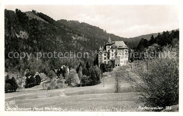 AK / Ansichtskarte Badenweiler Sanatorium Haus Waldeck Badenweiler