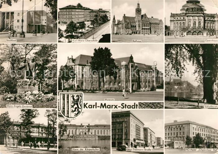 AK / Ansichtskarte Karl Marx Stadt Stadtbad Karl Marx Oberschule Rathaus Opernhaus Museum Schlossteich Hauptbahnhof Haus der Koerperkultur Thaelmann Strasse HO Hotel Chemnitzer Hof Karl Marx Stadt