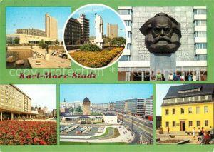 AK / Ansichtskarte Karl Marx Stadt Interhotel Kongress Karl Marx Allee mit Monument Rathaus Karl Marx Platz Fritz Heckert Haus Karl Marx Stadt