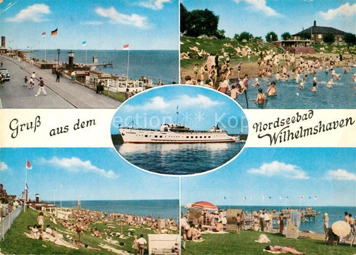 AK / Ansichtskarte Wilhelmshaven Landungsbruecke Badestrand Faehre Wilhelmshaven