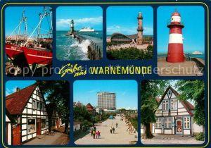 AK / Ansichtskarte Warnemuende_Ostseebad Fischkutter Hafen Mole Leuchtturm Teepott Promenade Hotel Neptun Warnemuende_Ostseebad