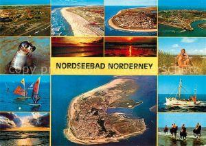 AK / Ansichtskarte Norderney_Nordseebad Fliegeraufnahmen Seemoeve Sonnenuntergang Badenixe Windsurfen Fischkutter Reiten am Strand Norderney_Nordseebad
