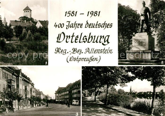 AK / Ansichtskarte Ortelsburg Rathaus Gefallenenehrenmal Marktstrasse Promenade am Kl Haussee Ortelsburg 0