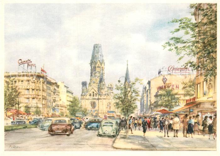 AK / Ansichtskarte Berlin Kaiser Wilhelm Gedaechtnis Kirche Aquarell Berlin 0