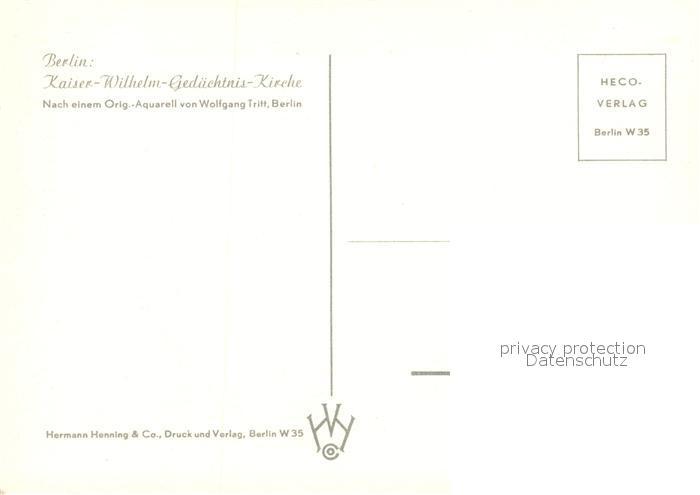 AK / Ansichtskarte Berlin Kaiser Wilhelm Gedaechtnis Kirche Aquarell Berlin 1