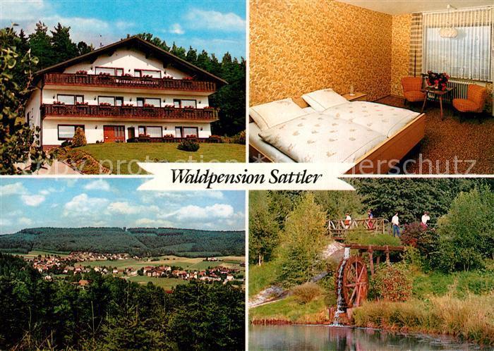 AK / Ansichtskarte Wahlen_Odenwald Waldpension Sattler Zimmer Panorama Muehlrad Wahlen_Odenwald 0