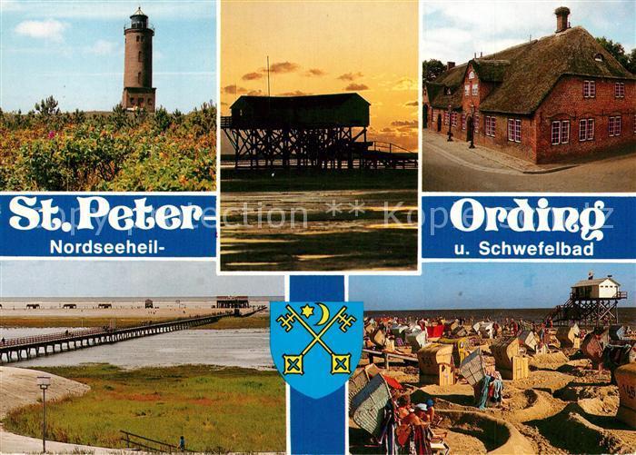 AK / Ansichtskarte St_Peter Ording Leuchtturm Seebruecke Die Seekiste Boehler Sandbank Strand Friesenhaus St_Peter Ording 0