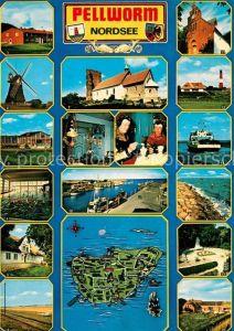 AK / Ansichtskarte Pellworm Alte Kirche Windmuehle Leuchtturm Faehre Wellenbad Hafen Pellworm