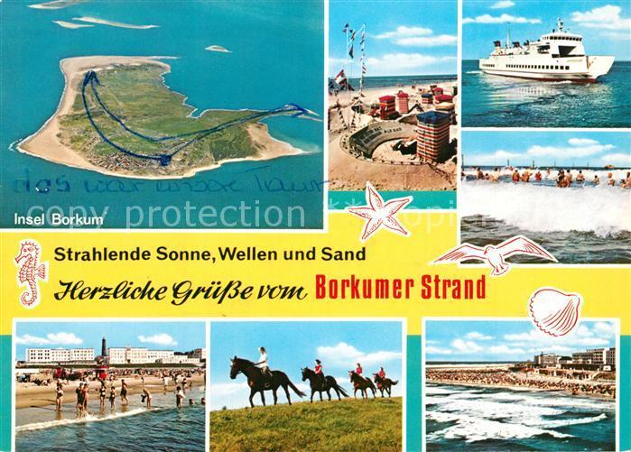 AK / Ansichtskarte Borkum_Nordseebad Strand Reiten Faehre Nordseeinsel Fliegeraufnahme Borkum_Nordseebad 0