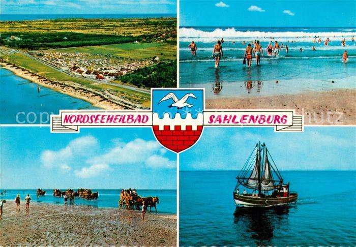 AK / Ansichtskarte Sahlenburg Strand Wattwagen Fischkutter Fliegeraufnahme Sahlenburg 0