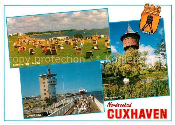 AK / Ansichtskarte Cuxhaven_Nordseebad Badestrand Grimmershoernbucht Alte Liebe Landungsbruecke Wasserturm Wappen Cuxhaven_Nordseebad 0