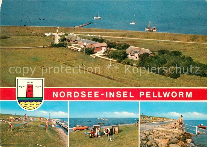 AK / Ansichtskarte Pellworm Fliegeraufnahme Badestrand Promenade Pellworm
