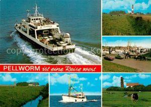 AK / Ansichtskarte Pellworm Faehre Landschaftspanorama Leuchtturm Hafen Alte Kirche Kuehe Fischkutter Pellworm