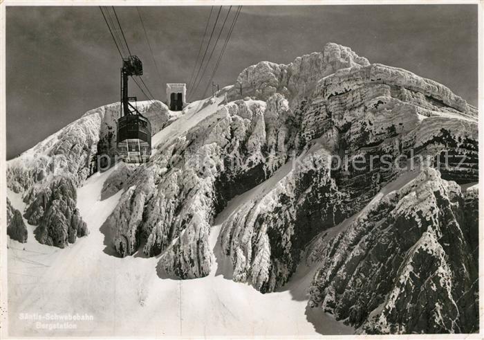 AK / Ansichtskarte Saentis_AR Schwebebahn Bergstation Saentis_AR 0