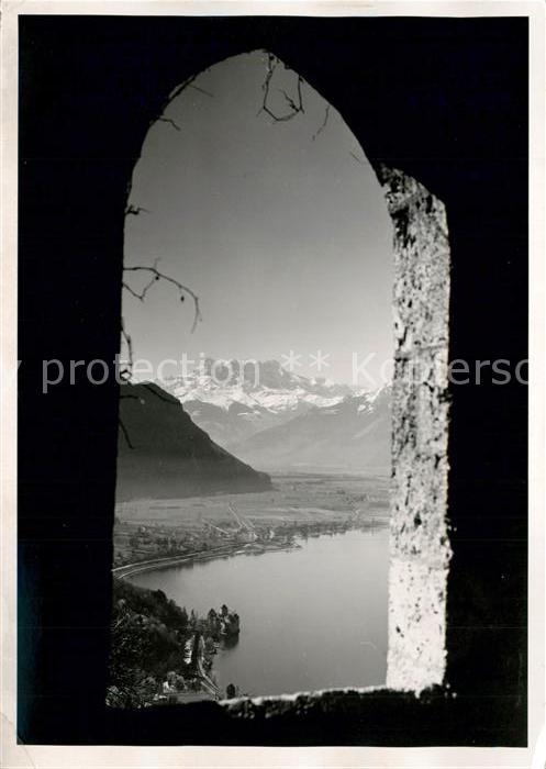 AK / Ansichtskarte Glion Blick durch Fenster auf den See Glion 0