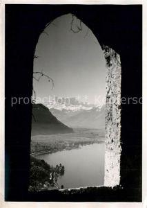 AK / Ansichtskarte Glion Blick durch Fenster auf den See Glion