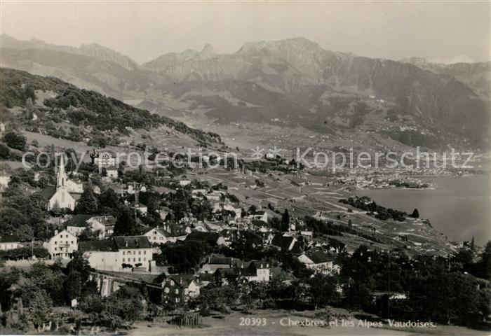 AK / Ansichtskarte Chexbres Fliegeraufnahme Seepartie Alpes Vaudoises Chexbres 0