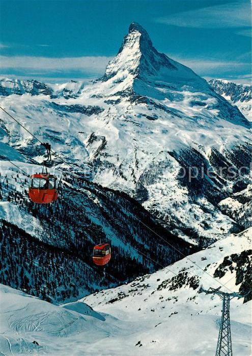 AK / Ansichtskarte Zermatt_VS Gondelbahn Sunnegga Blauherd Matterhorn Mt. Cervin Zermatt_VS 0