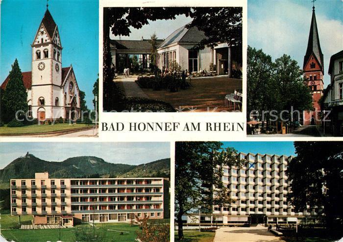 AK / Ansichtskarte Bad_Honnef Kirche Kurgarten Kurklinik Drachenfels Bad_Honnef 0