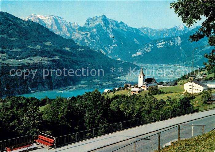 AK / Ansichtskarte Amden_SG mit Walensee Linthebene Glarneralpen Amden_SG 0