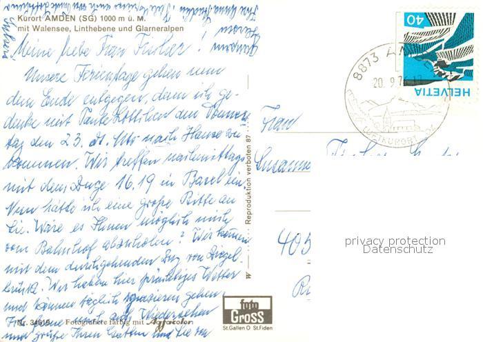 AK / Ansichtskarte Amden_SG mit Walensee Linthebene Glarneralpen Amden_SG 1