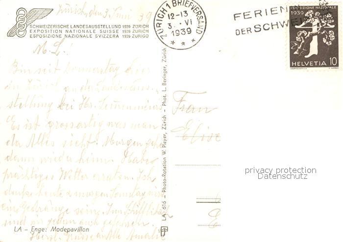 AK / Ansichtskarte Zuerich_ZH Schweizer Landesausstellung 1939 Zuerich_ZH 1