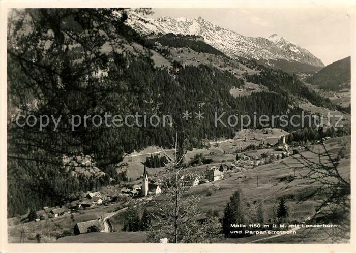 AK / Ansichtskarte Malix mit Lenzerhorn und Parpanerrothorn Malix 0