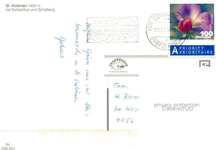 AK / Ansichtskarte St_Antoenien_GR mit Schijenflue und Schollberg St_Antoenien_GR 1