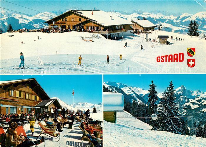 AK / Ansichtskarte Gstaad Hoehi Wispile Terrasse Seilbahn Gstaad 0