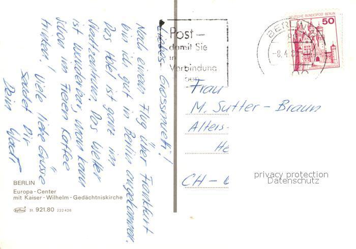 AK / Ansichtskarte Berlin Europa Center mit Kaiser Wilhelm Gedaechtniskirche Berlin 1