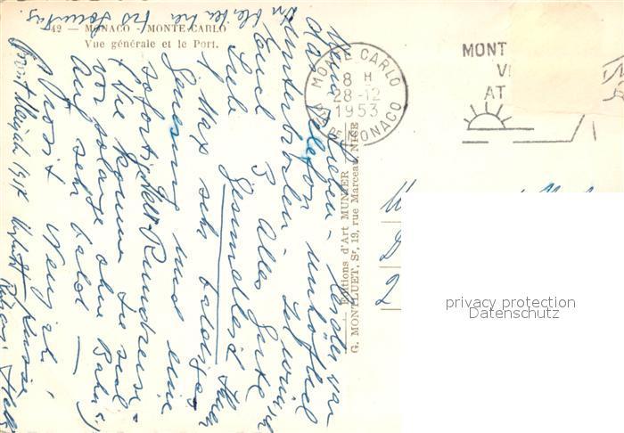 AK / Ansichtskarte Monte Carlo Vue generale et le Port Monte Carlo 1