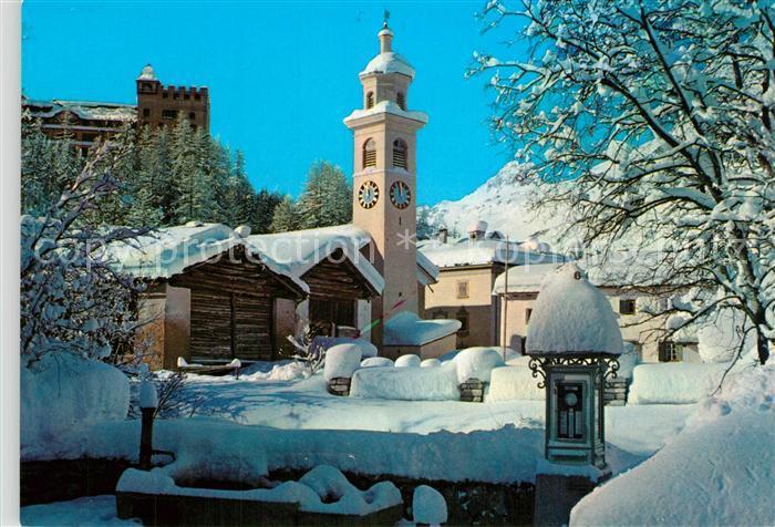 AK / Ansichtskarte Sils_Maria_Graubuenden Kirche Dorfpartie Sils_Maria_Graubuenden 0