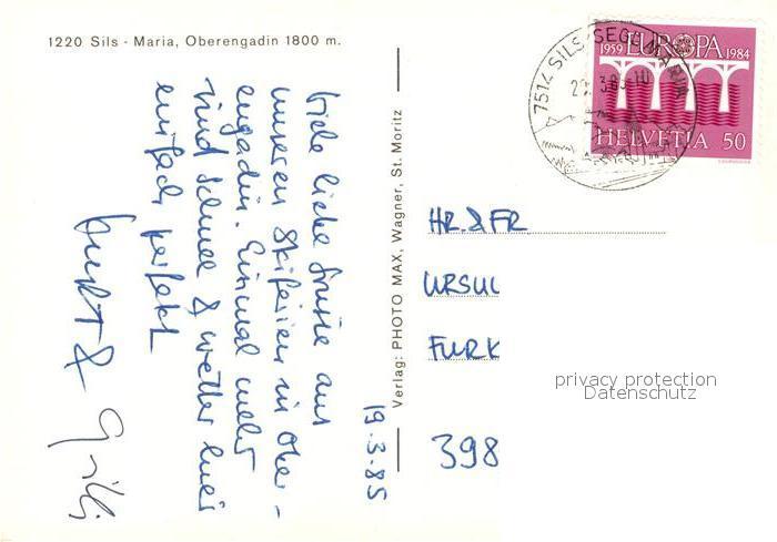 AK / Ansichtskarte Sils_Maria_Graubuenden Kirche Dorfpartie Sils_Maria_Graubuenden 1