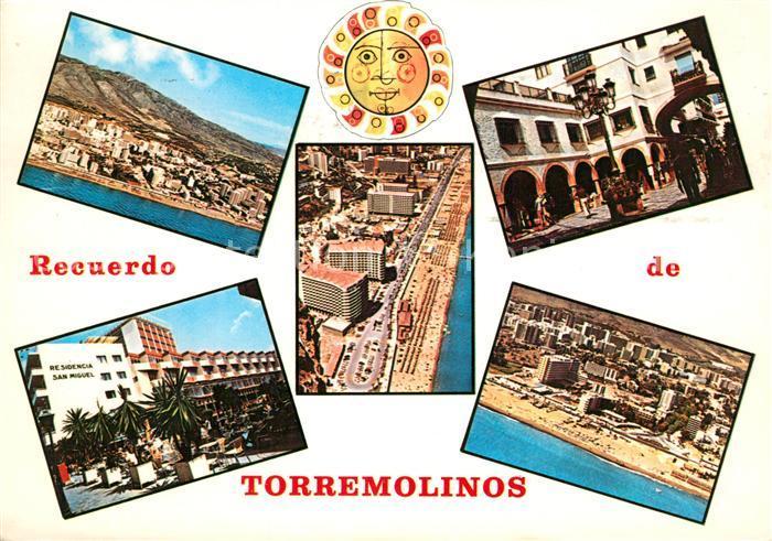 AK / Ansichtskarte Torremolinos Strandpartien Fliegeraufnahme Arkaden Hotel San Miguel Torremolinos 0