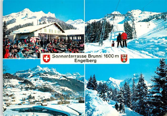 AK / Ansichtskarte Engelberg_OW Bergrestaurant Skilift mit Brunnistock Panorama Spazierweg mit Hahnen Engelberg OW 0