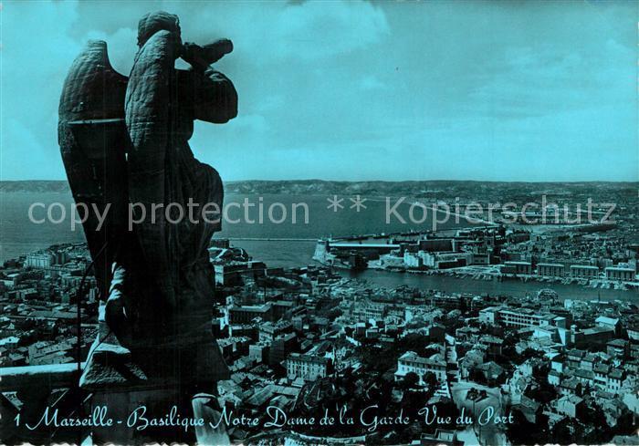 AK / Ansichtskarte Marseille_Bouches du Rhone Basilique Notre Dame de la Garde Vue due Port Marseille 0