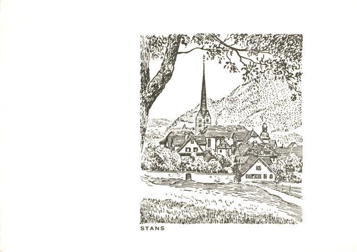 AK / Ansichtskarte Stans_NW Ortsmotiv mit Kirche Zeichnung Kuenstlerkarte Stans_NW