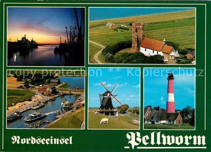 AK / Ansichtskarte Pellworm Sonnenuntergang am Hafen Windmuehle Leuchtturm Alte Kirche Fliegeraufnahme Pellworm