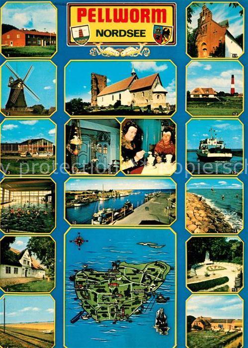 AK / Ansichtskarte Pellworm Windmuehle Alte Kirche Leuchtturm Wellenbad Faehre Trachten Cafe Hafen Kueste Landschaft Landkarte Pellworm