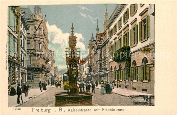 AK / Ansichtskarte Freiburg_Breisgau Kaiserstrasse Fischbrunnen Freiburg Breisgau