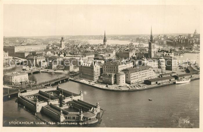 AK / Ansichtskarte Stockholm Utsikt fran Stadshusets torn Fliegeraufnahme Stockholm