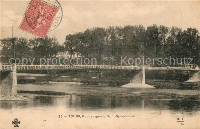 AK / Ansichtskarte Tours_Indre et Loire Pont suspendu Saint Symphorien Tours Indre et Loire