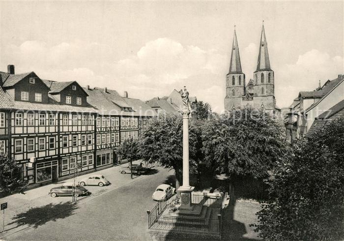 AK / Ansichtskarte Duderstadt Marktstrasse Mariensaeule St. Cyriakus Duderstadt