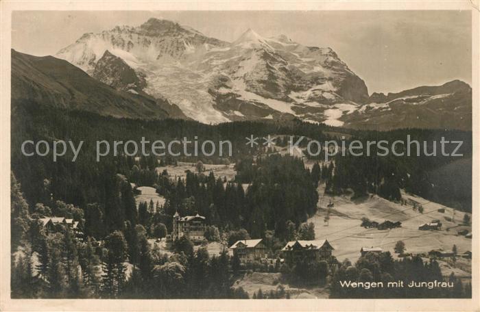 AK / Ansichtskarte Wengen_BE mit Jungfrau Wengen_BE