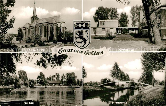 AK / Ansichtskarte Geldern Gymnasium Freibad Katholische Kirche  Geldern