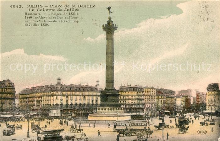 AK / Ansichtskarte Paris Place de la Bastille La Colonne de Juillet Paris