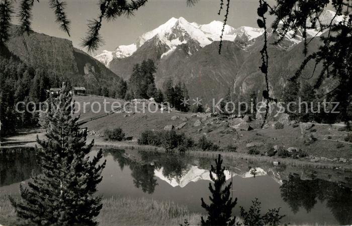 AK / Ansichtskarte Graechen_VS Graechensee mit Weisshorngruppe Bergsee Walliser Alpen Wasserspiegelung Graechen_VS