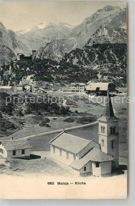 AK / Ansichtskarte Maloja_GR Kirche Panorama Maloja_GR