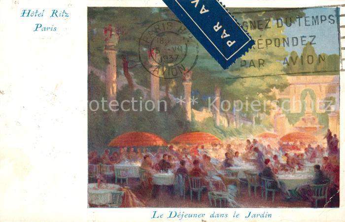 AK / Ansichtskarte Paris Hotel Ritz Le Dejeuner dans le Jardin Kuenstlerkarte Paris