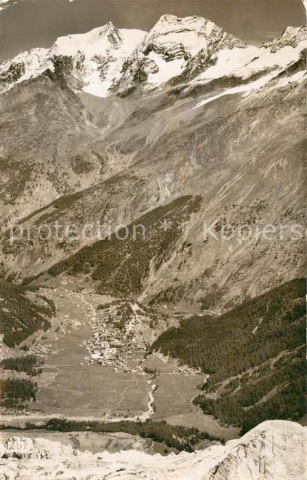 AK / Ansichtskarte Saas Fee Langenfluh Fee Gletscher Fletsch  und Laquinhorn Saas Fee